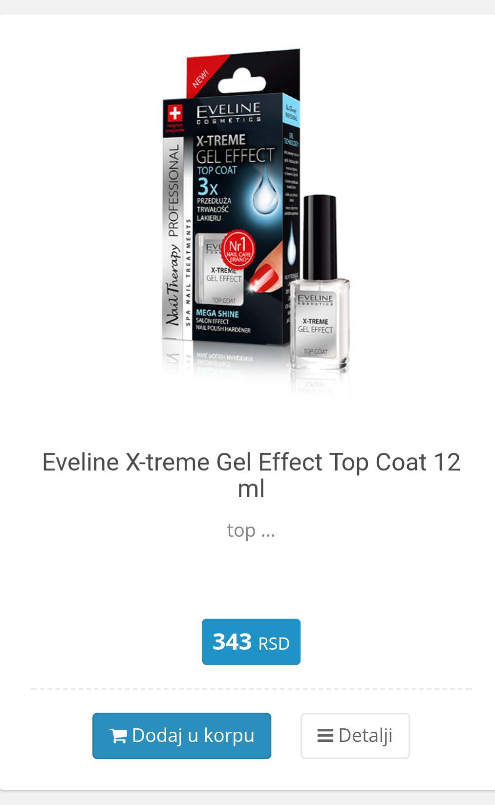 top coat sa gel efektom