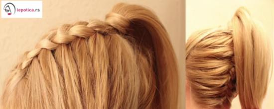 frizura pletenica i visoki rep