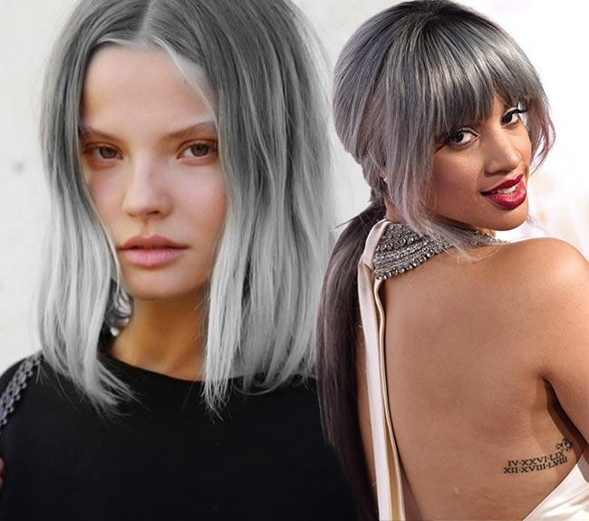 Модная покраска для седых волос 77